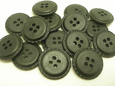 New lot 8 Faux Leather Black Buttons  Jackets,Coat  1 inch 7/8, 3/4 5/8    # FB