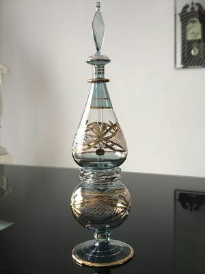 Unique Large Egyptian Hand Made Perfume Bottle, 24k Gold Accents, 11 inches tall