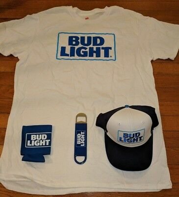 Bud Light Beer XL T-Shirt, Hat, Beer Coozie & Bottle Opener NEW Dilly Dilly!