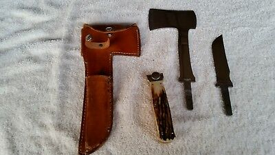 Vintage Kabar Knife And Hatchet Combo With Stag Handles