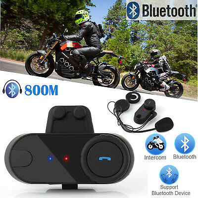 Bluetooth Helmet Headset Intercom 800M Motorcycle Rider Interphone Motorbike UK