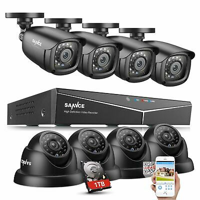 SANNCE 1080N CCTV 5IN1 8CH DVR 1500TVL IR Outdoor Security Camera System 1TB P2P