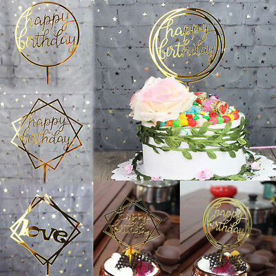 3 Colors Birthday Wedding Cake Topper Card Acrylic DIY Cake Decoration Supplies
