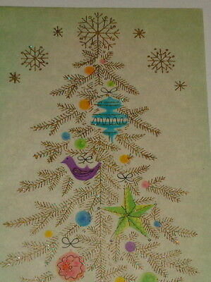 "Vintage 1958 Christmas card, mod glitter tree with snowflakes, 7 1/2"" used"