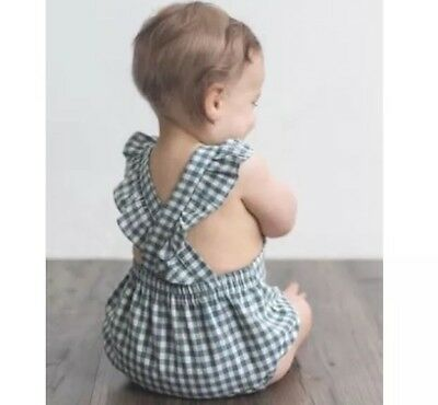 DAUGHTER CO Sparrow Linen Romper in Gingham Check 00 BRAND NEW