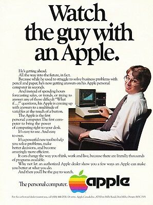 """1982 Apple Computer Apple II Print Ad - """"Watch the guy with an Apple"""""""