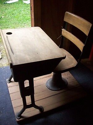 Vintage Antique Adjustable School Desk & Chair on a Base with Inkwell Hole