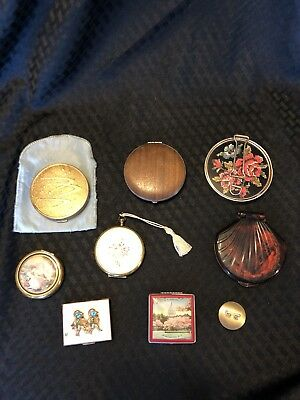 Vintage Lot of Powder Compacts Fifth Ave Hong Kong Early Plastic & Metal