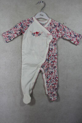 Baby Girl Size 00000,0000,000  Bebe Winter Cream Multi Romper With Feet NWT