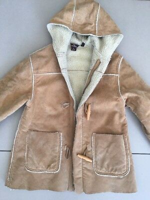 Designer Guess Boys Girls Shearling Leather Suede Jacket Size 6 EUC