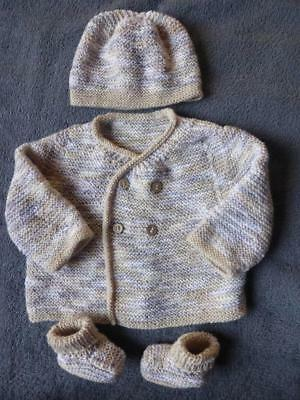 Gorgeous Hand Knitted Baby Jacket Hat and Booties - 3-6 months