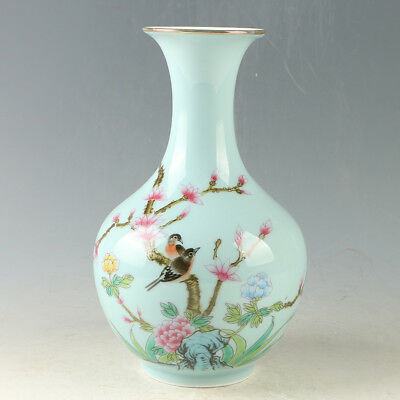 Chinese Porcelain Hand-Painted Bird & Flower Vase W Qianlong Mark GL833