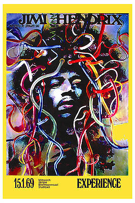 1960's Rock:  Jimi Hendrix at Stuttgart Germany Concert Poster 1969