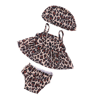 Baoblaze Leopard Swimsuit with Hat Fits 18inch American Girl Doll Clothes