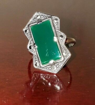 Flash Sale@ antique vintage art deco jade cocktail ring