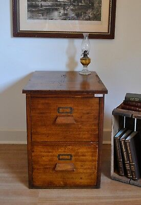 Vintage Rustic Industrial Ex Government Oak 2 Drawer Filing Cabinet Home /Office