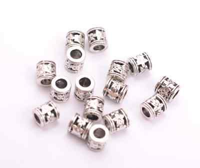 20Pcs Antique Silver Flower Big Hole Spacer Beads 3MM Hole  H3021