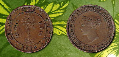 CEYLON-British Rule:-1870 1 cent Copper coin from Queen Victoria's reign. AP6957