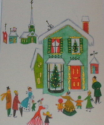 "Vintage 1958 Christmas card, Victorian village in the snow, Hallmark 7 1/4"" used"