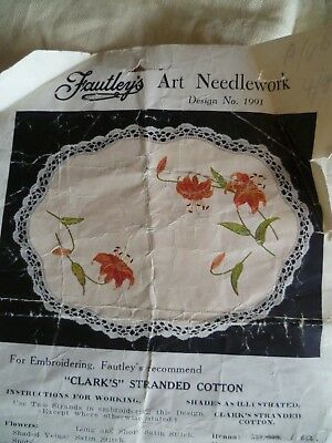 Vintage Pure Linen Doiley Traced Stamped to Complete Embroider Lilies Fautleys
