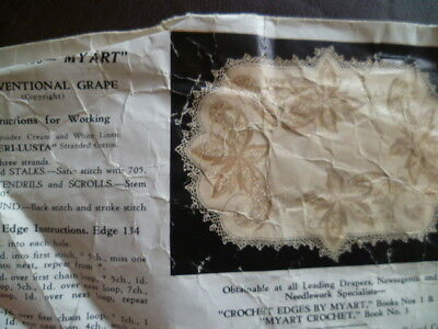Vintage Pure Linen Doileys X4 Traced Stamped to Embroider Myart Grape Vanity Set