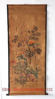 Old Collection Scroll Chinese Ink And Wash Painting/Six Kinds of FlowersZH1022+a