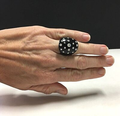 Fun & FuNkY Vintage 70's Black LUCITE & Paste Rhinestone Wide Band Ring HH188e
