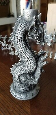 """Gothic Dragon Candle Holder Pewter Finish Resin? 8.25"""" H Summit Collection"""