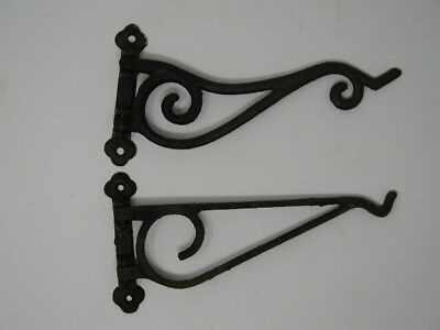 """2 Rusty 10"""" Vintage Antique? Iron Metal Swivel Plant Hangers With Old Screws!!"""
