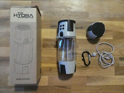 Hydra Smart Bottle - Wasserflasche, Bluetooth-Lautsp., Lampe, Power Bank - NEU