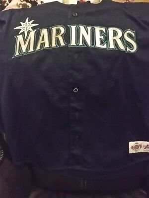 Majestic Adult XL Tackle Twill Logo MARINERS mesh jersey w/ number free shipping
