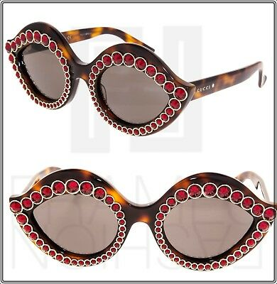 e16b7115d058 GUCCI CRYSTAL LIPS 0045 Cat Eye Havana Brown Red Stud Sunglasses GG0045S  3867