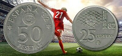"""SPAIN: - Pre Eurozone 2 different Soccer World Cup """"82""""coins dated 1980.  AP6842"""