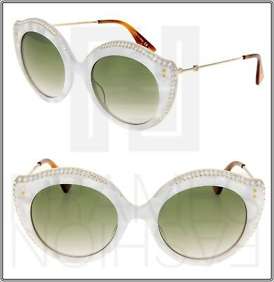 f5794c642c34 GUCCI CRYSTAL LIPS 0214 Cat Eye White Pearl Green Gradient Sunglasses  GG0214S