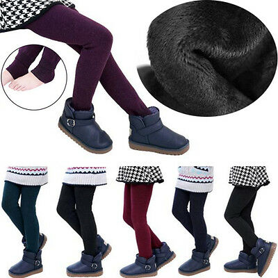 Winter Girl Children Fleece Lined Thick Warm Pants Stretch Leggings Trousers