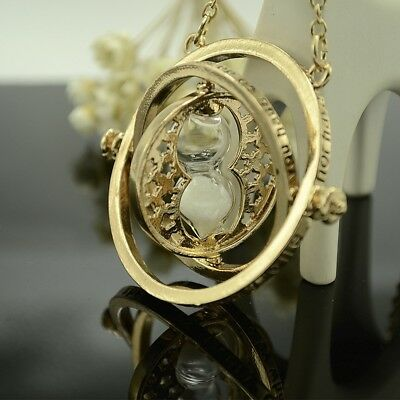 Harry Potter Hermione Granger Time Turner Necklace with Rotating Hourglass