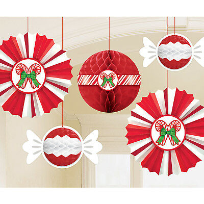 Peppermint Honeycomb Hanging Paper Fans With Candy Cane Ceiling Decoration x 6