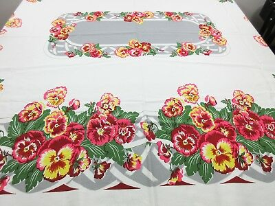 Vintage California Hand Prints Pansy Pansies Pink Yellow Floral Tablecloth 1950s