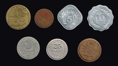 PAKISTAN:- 7 different circulation coins values 1 pice - 1 Rupee . AP6938
