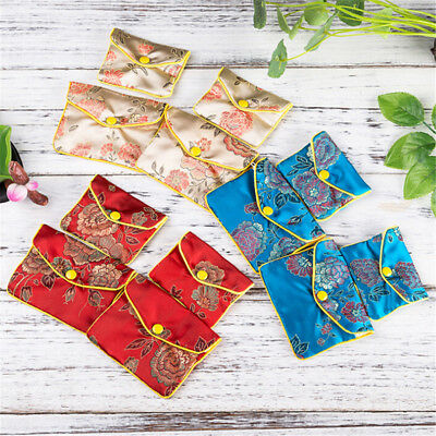 5Pcs Jewellery Jewelry Silk Pouch Packaging Bags Wedding Party Gift 10*8cmTE