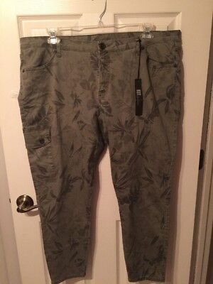 KUT From the Cloth Green Wash Floral Skinny Ankle Stretch Women Jeans Size 22 W