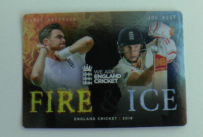 ANDERSON / ROOT FIRE & ICE CARD FI-1 tap n play ENGLAND CRICKET 2018 ECB MINT