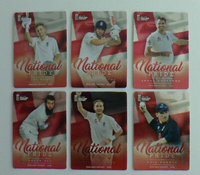 COMPLETE SUB SET of 6 NATIONAL PRIDE ENGLAND CRICKET 2018 tap n play cards ECB