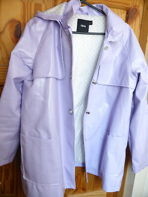 ASOS ladies raincoat in pale lilac faux leather, size 16