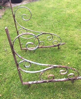 2 VERY LARGE Hand forged steel antique / vintage scrolled shelf / wall brackets