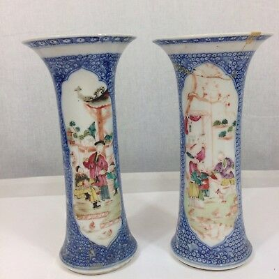 Antique Pair Chinese Famille Rose Spill Vase 18cm Tall One Damaged