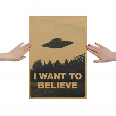 Vintage Classic I Want To Believe Poster Bar Home Decor Kraft Paper Wall Sticker