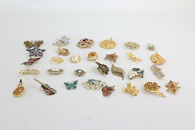 30 x Vintage STATEMENT Themed Mixed Costume Brooches Inc. Floral & Stone Set
