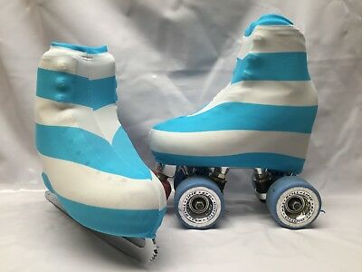 Blue White Stripes Boot Covers for Roller Skates/Ice Skates SMALL  ONLY