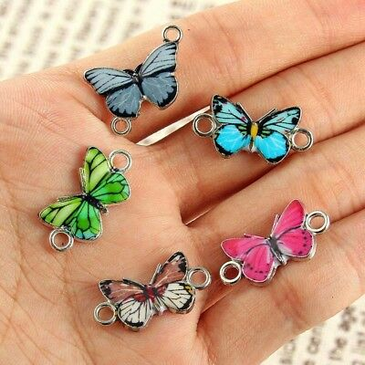 10Pcs Mixed Color Butterfly Connector Charm Bead DIY Jewelry Making Craft Gift